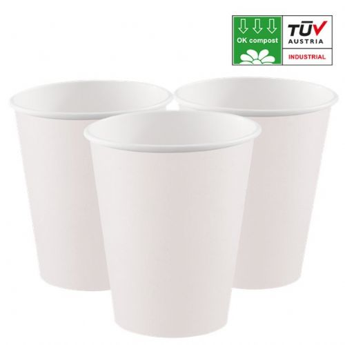 Compostable White 200ml Paper Cups (8pk)